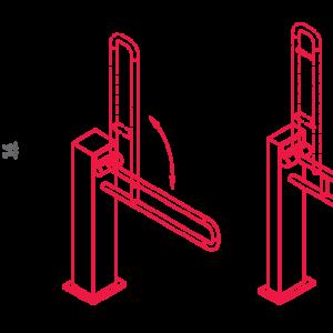 SHS – N32.130-135 – Maniglione Di Sostegno A Pavimento Ribaltabile